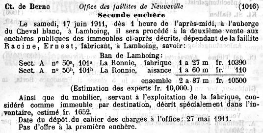Lamboing Steigerungsankündigung SHAB 1911