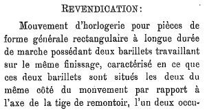 Revendication 1 CH152299