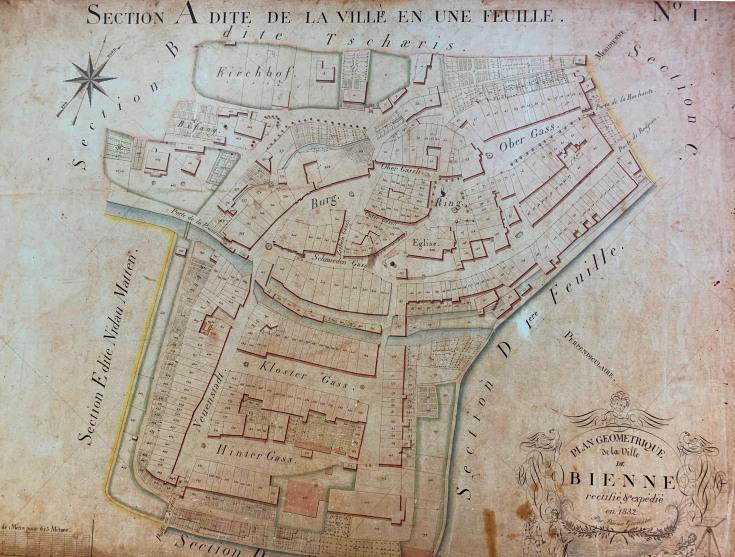 Plan alter Katasterplan Section A der Stadt Biel von 1832, unten in der Mitte das Gymnasialgebäude [Stadtarchiv Biel]